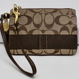 Coach Signature Stripe Brown Small Wristlet